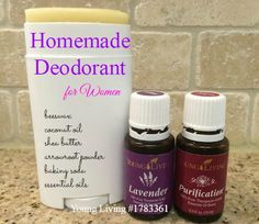Homemade all natural non toxic deodorant for women! made with essential oils, beeswax, coconut oil, shea butter, arrowroot powder and baking soda!
