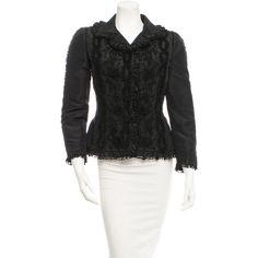Pre-owned Oscar de la Renta Silk Jacket ($445) ❤ liked on Polyvore featuring outerwear, jackets, black, black floral jacket, black silk jacket, floral print jacket, oscar de la renta and oscar de la renta jacket