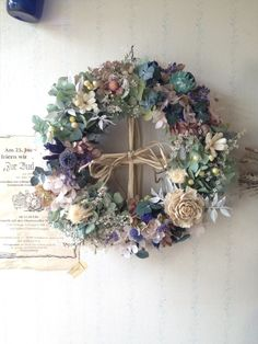 Unusual pastel wreath that would be lovely in a bedroom Flower Wreath Funeral, Dried Flower Wreaths, Sunflower Wreaths, Dried Flowers, Christmas Flower Decorations, Christmas Wreaths, Corona Floral, Vintage Wreath, Dried Flower Arrangements