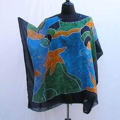 Blue caftan, Plus size Tunic, cover up, boho caftan, green tunic, 1x 2x 3x 4x 5x 6x caftan, star fish caftan, blue kaftan, upcycled tunic by Rethreading on Etsy