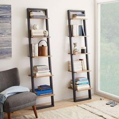 West Elm offers modern furniture and home decor featuring inspiring designs and colors. Create a stylish space with home accessories from West Elm. Ladder Shelf Desk, Narrow Bookshelf, Desk Shelves, Shelving Units, Diy Ladder, Shelving Ideas, Office Bookshelves, Wood Ladder, Bookshelves