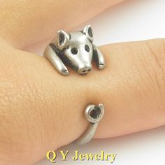 Vintage Silver Hippie Pig Ring Mid Finger Punk Baby Animal Miniature Vintage Pig Rings For Men Women Boho Chic Fashion
