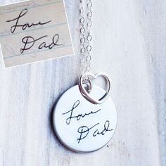 Custom Handwriting Necklace with the Writing or Art of your Little One or Loved One on Etsy, $65.00