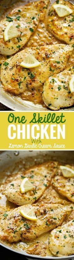One Skillet Chicken topped with A Lemon garlic Cream Sauce - Ready in 30 minutes are perfect over a bed of angel hair pasta! #lemonchicken #skilletchicken #oneskilletchicken | Littlespicejar.com @littlespicejar: