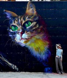 Street art painting oh huge colorful cat on building by Cactus Maria, Spain (LP)