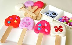 Popsicle Play Dough station. Target words - stick on, more on.