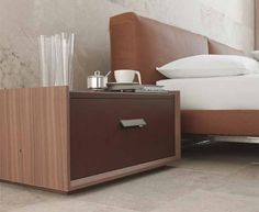 Fjord Night Stand by Alivar, Italy in Canaletto walnut. Manufactured By Alivar.