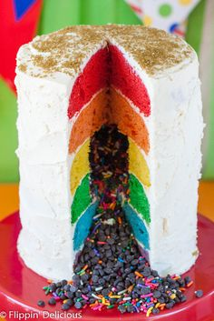 Gluten-free rainbow layer cake with buttercream frosting. Perfect for birthdays! Kids and grownups a like will love this gluten-free rainbow layer cake!