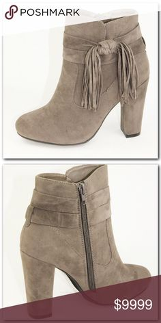 """COMING SOON⭐️Side Tie Suede Booties Gorgeous fall staple!! 4"""" heel with side zipper and tie fringes at side. Beautiful taupe color.More details coming soon! Shoes Ankle Boots & Booties"""