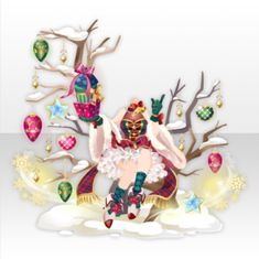 Dreaming Santa Sitting on Tree Style ver.A white Christmas Present Ribbon, Top Christmas Presents, Manga Clothes, Drawing Clothes, Model Outfits, Girl Outfits, Chibi Girl Drawings, Hand Accessories, Magical Jewelry