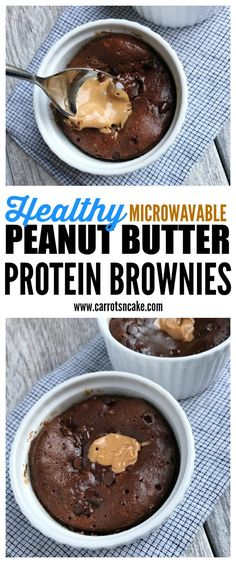 Macro-Friendly Healthy Peanut Butter Protein Brownies This single-serving brownie couldn't be easier to make– just mix up the batter, pour into ramekins, and nuke in the microwave. The perfect dessert for those sweet tooths! Protein Brownies, Protein Desserts, Protein Mug Cakes, Healthy Protein Snacks, Protein Foods, Healthy Sweets, Healthy Dessert Recipes, Cake Brownies, High Protein