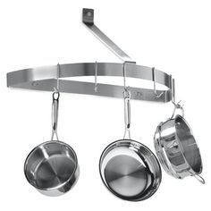 Hang pots and pans from the ceiling. | 27 Lifehacks For Your Tiny Kitchen , these are usually reserved for expensive, fancy-ass kitchens, but if you've got the space above your head, why not use it for storage? This version from Bed, Bath, and Beyond is downsized for small spaces.