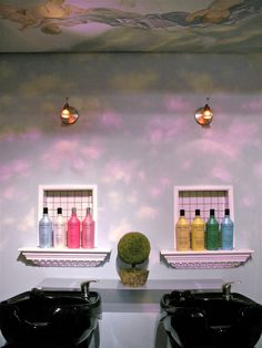 Here is the shampoo area of my salon, inspired by the Sistine Chapel. I hand painted the walls to match the Angle Mural that I hung over the shampoo bowls. Facebook/RomiCortierFineArt