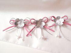 Fiocchi rosa con fiore metallo