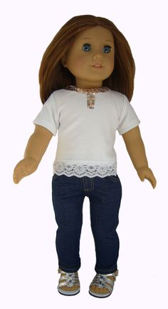 White Lace & Sequin Bling T-Shirt + Jeggings for American Girl Doll Clothes #Generic