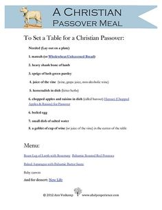 A Holy Experience  The Best Easter Dinner  with a Free Printable  Start a Christian Tradition Messianic Seder