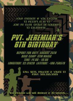 Army Men Birthday Boy Party Invitations DIGITAL by TheFunkyOlive, $12.00