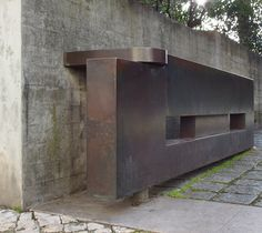 Gulbenkian Foundation motor court entry gates in bronze and concrete