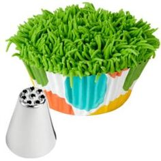 Grass on top of a cupcake