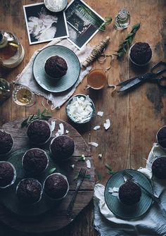 Call me cupcake: Double chocolate banana muffins with mascarpone frosting and bourbon caramel sauce