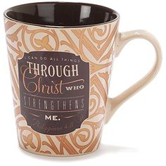 Can Do all Things Through Christ Filigree 11 Ounce Metallic Stoneware Coffee Mug ** Find out more about the great product at the image link.-It is an affiliate link to Amazon.