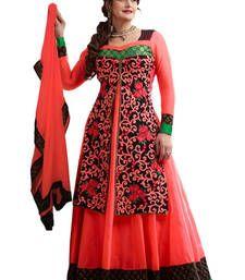 Buy Orange georgette embroidered semi stitiched salwar with dupatta party-wear-salwar-kameez online