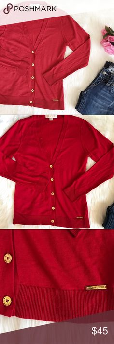 """NWOT Michael Kors Red and Gold Cardigan. NWOT, size Small. Red and gold cardigan. 60% cotton 40% Rayon. Armpit to armpit 16.5"""" Armpit down 15.5"""" Shoulders down 23"""" Michael Kors Sweaters Cardigans"""