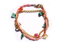 Handmade Bracelet Green Coral Chips Orange by twolittlefairies
