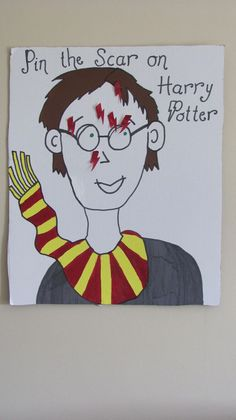pin the scar on harry potter. harry potter party games could maybe pin the tail on Dudley, too Baby Harry Potter, Harry Potter Baby Shower, Harry Potter Motto Party, Harry Potter Thema, Harry Potter Fiesta, Harry Potter Party Games, Harry Potter Halloween Party, Harry Potter Classroom, Theme Harry Potter