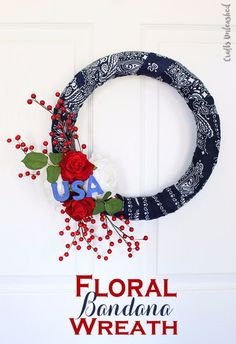 Whip up this adorable floral DIY bandana wreath for your front door using just a few supplies. Who knew a bandana could look so good! Crafts To Make And Sell, How To Make Wreaths, Cool Diy Projects, Craft Projects, Craft Ideas, Project Ideas, Decor Ideas, Bandanas, Bandana Crafts