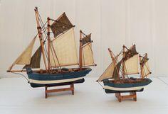 Vintage wooden model ship tuna boats old sailing par BrittanyArmor,