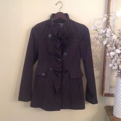 Adorable Ruffle and Bow Pea Coat This pretty jacket is also warm and comfortable. Sweet bow toggles and ruffle detail. Slate grey color is a nice departure from black. Kensie Jackets & Coats Pea Coats