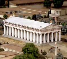 MODEL: Temple of Zeus in Olympia, Greece. c. 470 BCE. Note the heavy, solid sense of structure. Doric columns sit directly on the stylobate.