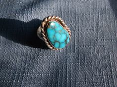 Vintage Ring Turquoise Gemstone Sterling by YoursOccasionally, $80.00