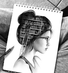 "Never stop learning and adding new information to the bookshelf that is your own intelligence Knowledge is power and ""Education is the most powerful weapon which you can use to change the world""- Nelson Mandela. There are so many different ways you could interpret this drawing I created. What do you think when you look at it? ✏️"