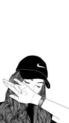 Tumblr Girl Drawing, Tumblr Drawings, Girl Drawing Sketches, Cute Girl Drawing, Girly Drawings, Girl Sketch, Tomboy Drawing, Outline Drawings, Drawing Ideas