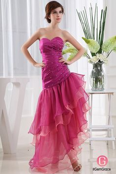 Beaded fit and flare prom dress