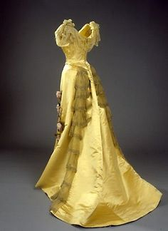 Evening Gown (back view), House of Worth (founded 1858), Paris: ca. 1898, French, silk taffeta, silk chiffon, embroidery. Belonged to Queen Alexandrine of Denmark.