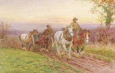 Sunset Painting - When The Days Work Is Done by Charles James Adams