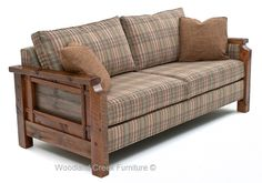 Finally a rustic sofa that is made in America.  This beautiful rustic sofa is handcrafted from reclaimed barn wood timbers and beams and paired with contemporary fabrics.  The combination is an elegant rustic sofa for mountain homes, log cabins, ranches, country homes, and camps.  This rustic sofa is a transitional design.  It will add warmth