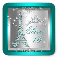 Sweet 16 Sweet Sixteen Teal Tiara Eiffel Tower Square Sticker Personalized Invitations Party Invitations by Zizzago.com