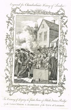 "Antique History Print - ""CEREMONY OF LAYING THE FIRST STONE OF BLACK FRIARS BRIDGE"" - Engraving - 1773"