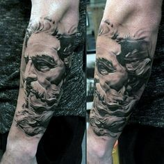 Realistic Greek God Face Tattoos On Arms For Guys