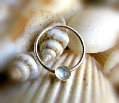 Moonstone Septum Ring  Tribal Septum Ring  by LarryJewelryShop