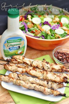 Grilled Ranch Chicken Skewers - Cherished Bliss #recipes
