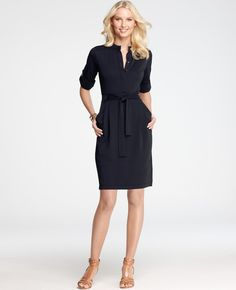 Petite Refined Matte Jersey Rolled Sleeve Tie Front Shirt Dress - Lyst