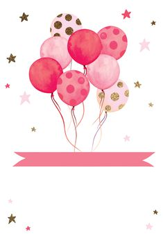 'Watercolor Balloons' - Birthday card template you can print or send online as eCard for free. Birthday Balloon Surprise, Pink First Birthday, Birthday Balloons, Birthday Wishes, Birthday Cards, Happy Birthday Kids, Birthday Ideas, Happy Birthday Invitation Card, Birthday Invitation Background
