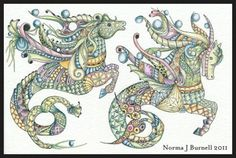 Seahorses  OSWOA, Ink and Prismacolor on Watercolor paper, 4x6 inches