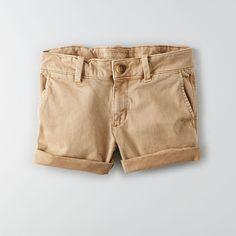 AEO Twill X Midi Shorts ($40) ❤ liked on Polyvore featuring shorts, khaki, midi shorts, american eagle outfitters, low rise shorts, khaki shorts and american eagle outfitters shorts