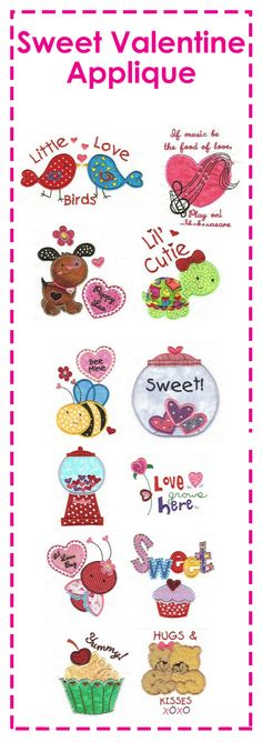 Love is in the air with these adorable sweet Valentine appliques! Great for not only Valentine's Day, but any day! #DesignsbyJuJu